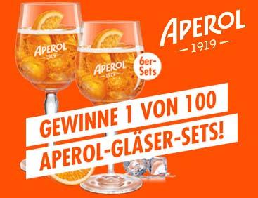 Gewinne 1 von 100 Gläsersets mit Aperol